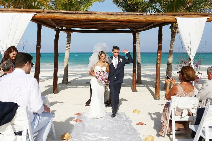 Newlyweds! Ceremony on the beach at @secretsmaroma in the ...