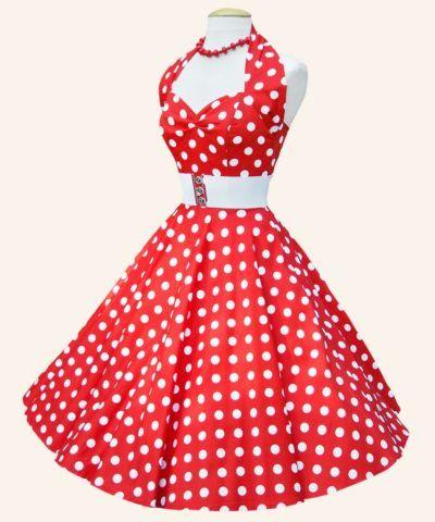vestidos anos 60 vermelho com bolinhas brancas frente unica