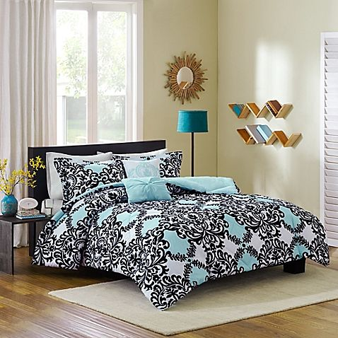 Cozy soft mia reversible 5 piece full queen comforter set - Bed bath and beyond bedroom furniture ...