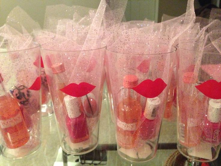Bachelorette Party Favors!  Mini Kinky Liquor, Essie Bachelorette Bash Polish, and a Victoria's Secret Mint Tin... All Wrapped in Pretty Pink Tulle :)