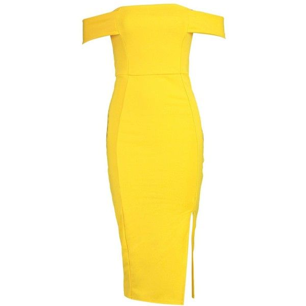 Boohoo Anna Off The Shoulder Side Split Midi Dress | Boohoo (280.730 IDR) ❤ liked on Polyvore featuring dresses, yellow skater dress, yellow dress, bodycon dress, bodycon maxi dress and party dresses