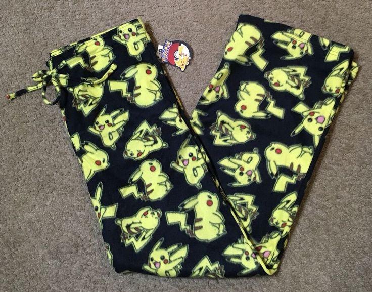 Pokemon Pants Mens Size L Large Yellow Black Pikachu Fleece Pajama Lounge NWT #Pokmon #LoungePants
