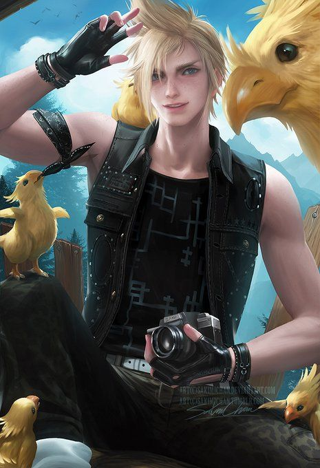 Prompto with chocobos
