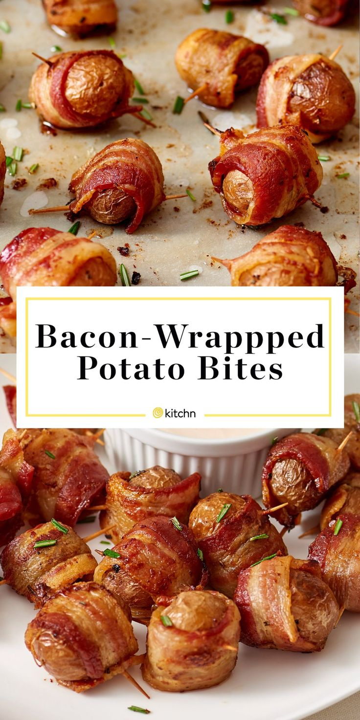 Bacon-Wrapped Potato Bites with Spicy Sour Cream Dipping Sauce Recipe. This is one of the best party food ideas around! Great for a tailgate, a sports party of any kind - even the superbowl or super bowl! Also fancy enough for a one-bite appetizer for new years eve for crowds of adults and children alike. Snacks like this are cheap, SIMPLE, and DELICIOUS.
