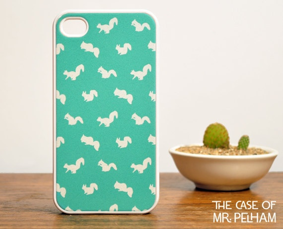 in case i ever get an iphone...Squirrel iPhone 4 Case in Mint Green - Cute iPhone Cases for Girls - Mint Green iPhone Case. $16.99, via Etsy.