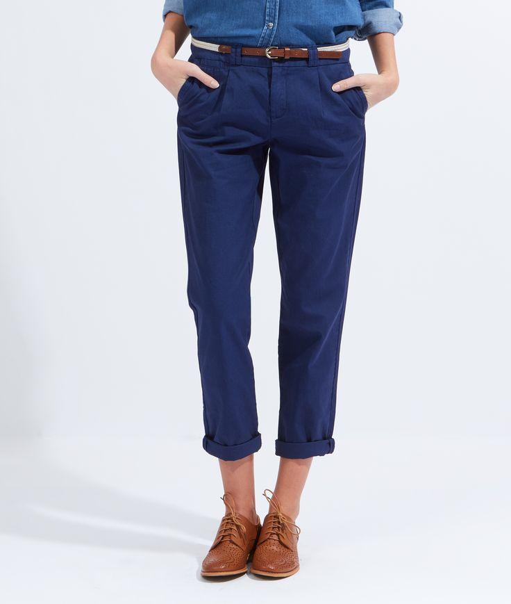 Pantalon chino en coton avec ceinture