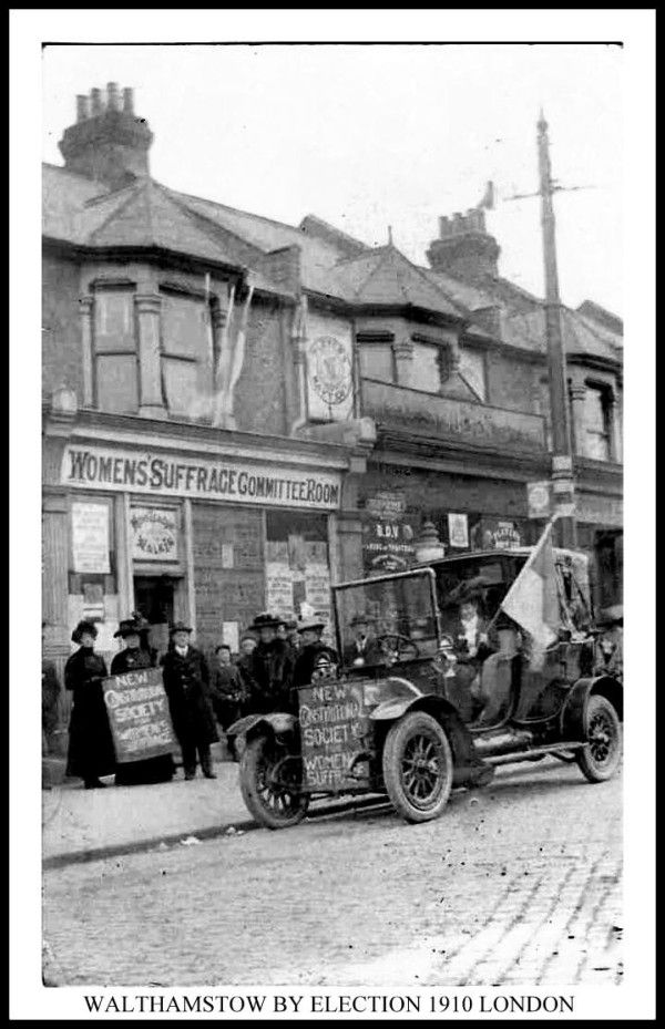 WALTHAMSTOW BY ELECTION 1910 SUFFRAGETTE COMMITTEE ROOM DECORATED CAR