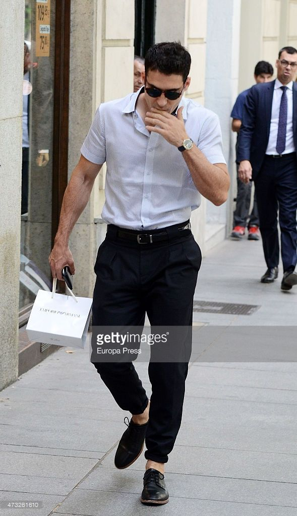 Miguel Angel Silvestre is seen leaving Emporio Armani shop on May 13, 2015 in Madrid, Spain.