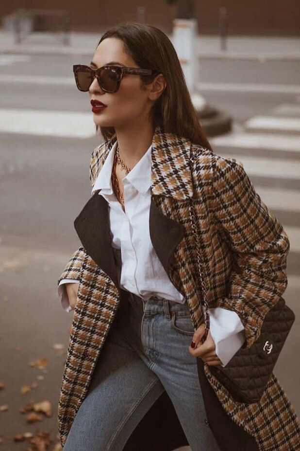 Plaid blazer outfits casual work style.