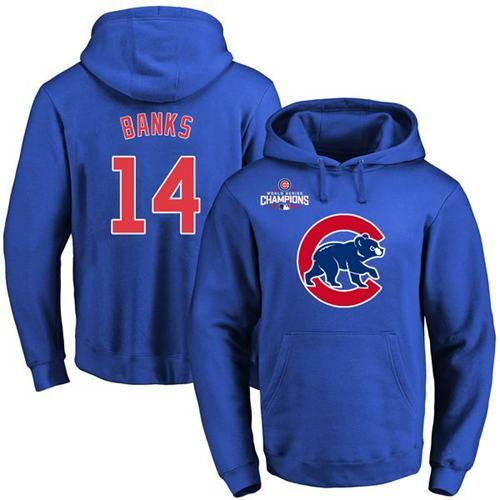 Cubs #14 Ernie Banks Blue 2016 World Series Champions Primary Logo Pullover MLB Hoodie