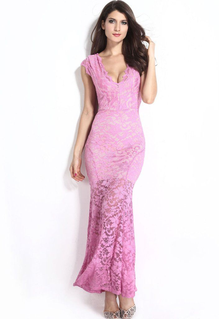Robes De Soiree En Dentelle Orchid Illusion Nude Low Back Robe – Modebuy.com
