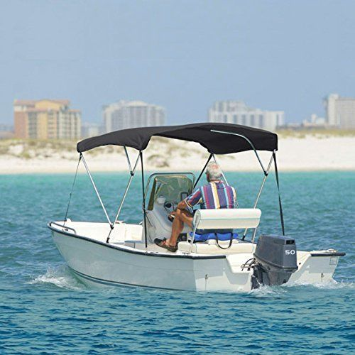 NEH 3 BOW GRAY BIMINI BOAT COVER TOP WITH ZIPPERED BOOT FITS 6166 WIDTH BEAM BOAT COVERS VHULL FISHING SKI BOAT RUNABOUT PRO BASS INBOARD OUTBOARD BOAT COVERS BIMINI Model  Sport  Outdoor *** You can find more details by visiting the image link.