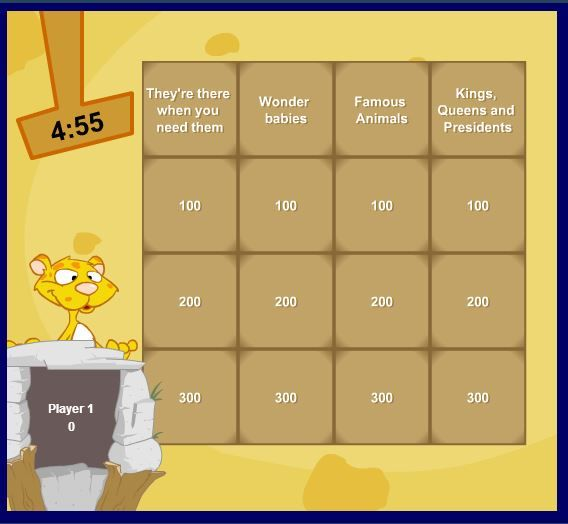 A challenging quiz game with a cute leopard for company!