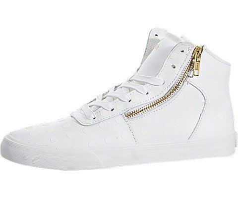 Supra Womens Cuttler White LeatherTonal Polka Dots Sneaker 5 B  Medium * To view further for this item, visit the image link.