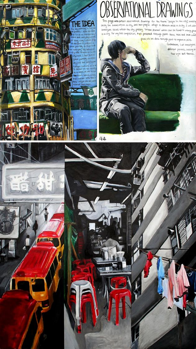 It is the depth of meaning and ideas in Naomi's work that lifts her project out of the ordinary. The carefully cropped Hong Kong city scenes communicate an intimate knowledge of the subject matter: first-hand experience and drawing from life, resulting in captivating, emotive IWB Art pages.