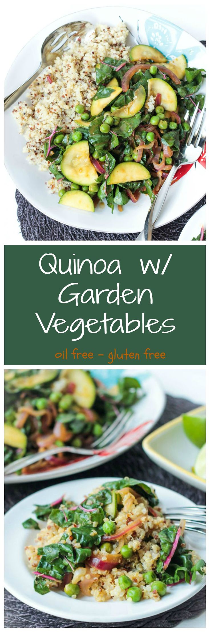 Quinoa w/ Garden Vegetables - taking advantage of the summer garden and full of plant protein, this dish is the perfect healthy side or light main meal. #vegan #quinoa #healthy #wfpb #garden #veggies