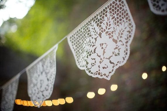 Bannières de Papel Picado - guirlande de mariage personnalisé de LAS FLORES - séries de 2 - couleur