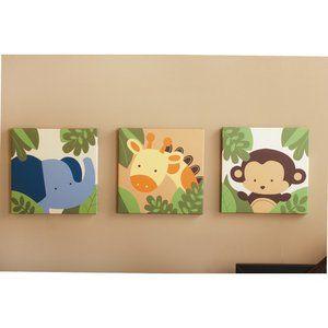 Kids Line Jungle 123 3 Piece Canvas Wall Art