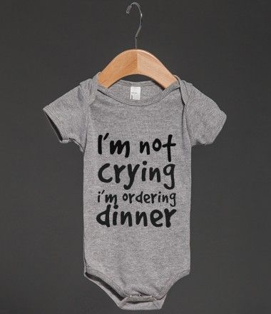 Dinner - recreate this cute onesie with heat transfer materials.