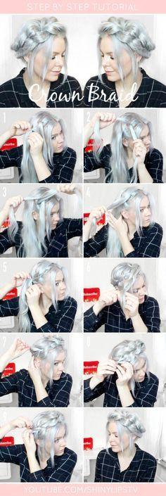 Pull through crown braid step by step #Hairstyles #Braid #Crownbraid #pullthroug…