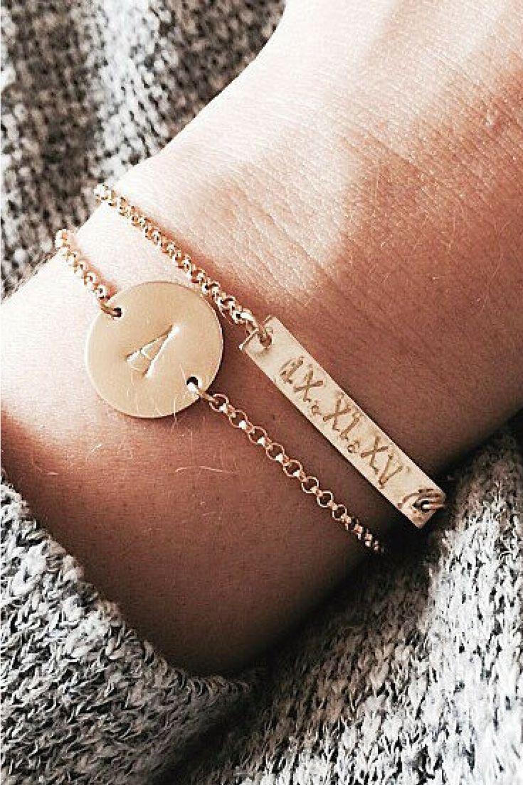 Personalized Bar Bracelet. Personalized Disc Bracelet. Bracelet Set. Gold Bracelets. #personalizedbracelet #braceletset #romannumerals #initialbracelet #minimalistjewelry #giftsforher