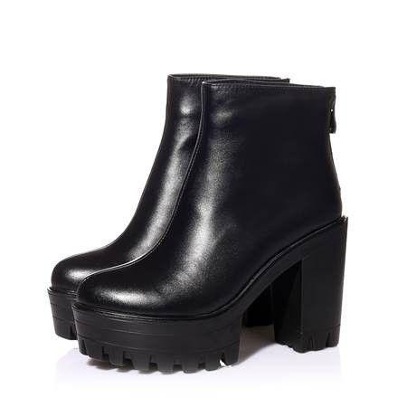 Мода марка Высокое качество женские из натуральной кожи осень зима ботильоны на платформе высокие каблуки черные туфли женщина сапогах купить на AliExpress