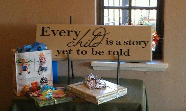 Book theme baby shower pinned by Leslie Salsberry.  Great sign.