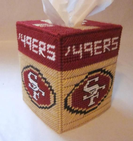 Free Plastic Canvas Magnet Patterns | San Francisco 49ers tissue box cover in plastic canvas by AuntCC