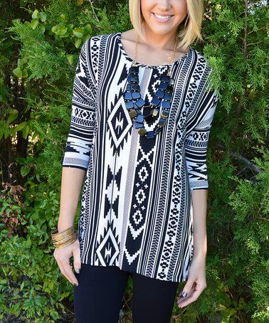 Take a look at this Black & White Ruthie Tunic on zulily today!