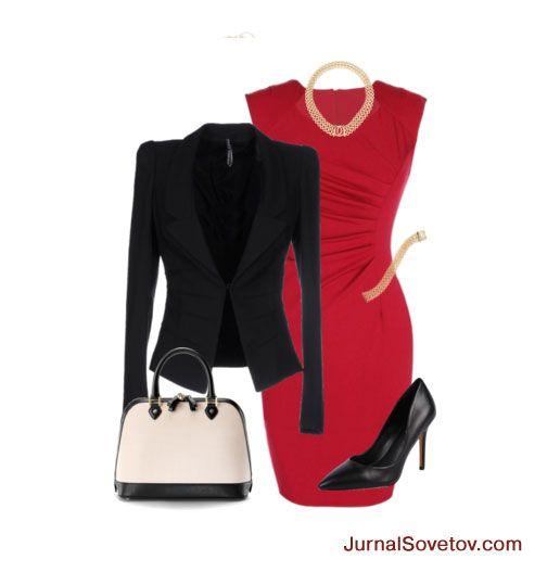 Комплект: красное платье-футляр в сочетании с черным жакетом. Дополняют комплект украшения, сумка и черные туфли.