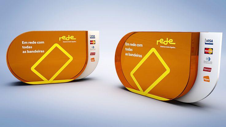 Display mesa lojistas - lançamento nova bandeira REDE de maquinas para cartão.