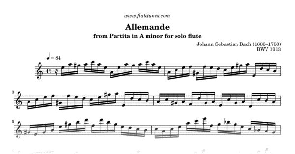 Sheet music for Allemande from Partita in A minor for solo flute by Johann Sebastian Bach, arranged for Flute solo. Free printable PDF score and MIDI track.