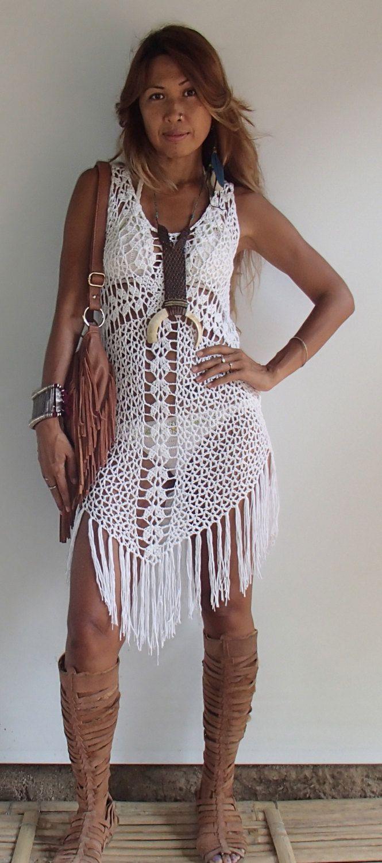 Крест крючком Boho платье с длинной бахромой / Black White по PadMa88