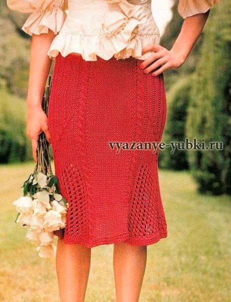 """красная вязаная юбка годе спицами """"Скарлетт"""""""