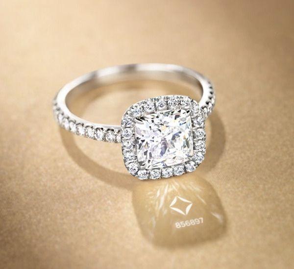 stunning cushion cut halo engagement ring