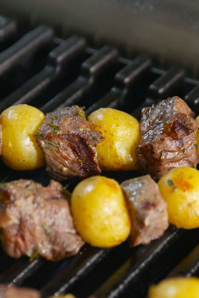 Steak And Potatoes tossed with rosemary and olive oil, skewered and grilled.