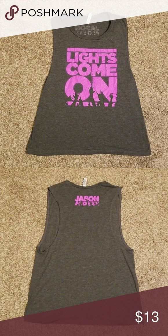 """Jason Aldean """"Lights come on"""" Tank! Bought at a concert and never wore Jason Aldean """"Lights come on"""" tank Bella Canvas Tops Tank Tops"""