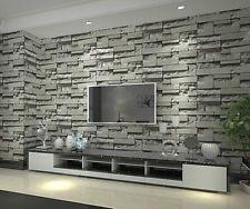 Grey 3D imitation brick pattern wallpaper study living room restaurant backdrop