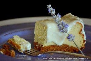 'Lavender Lemon Cheesecake'     www.allyskitchen.com: Sweet, Chocolates Chips Cookies, Recipes Cheesecake, Cream Cheese, Lavender Lemon Cheesecake, Baking Pies Tarts Cheesecake, White Chocolates Chips, Lemon Lavender Cheesecake, Birthday Cakes