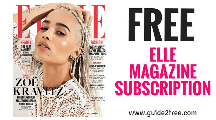 Get a FREE ELLE Magazine Subscription! This is FREE for 2 years! You will never receive a bill.ELLE magazine reports on emerging trends in fashion, beauty and style. Its visual core is surrounded by features, news and analysis of the larger world. Its articles feature information on culture, health, politics, art and relationships.