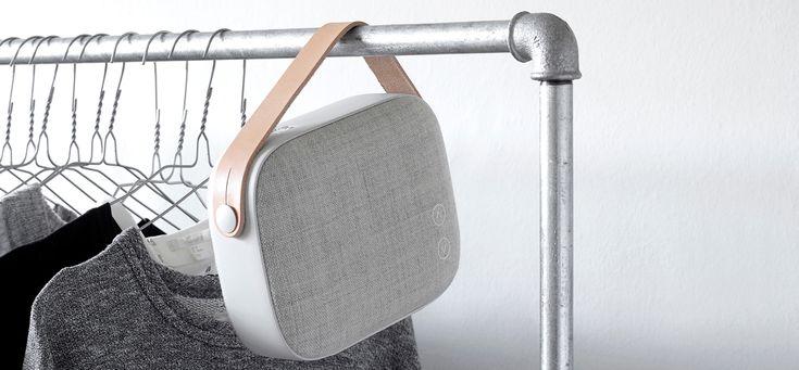 vifa's helsinki wireless loudspeaker includes swedish leather strap and solid aluminum frame