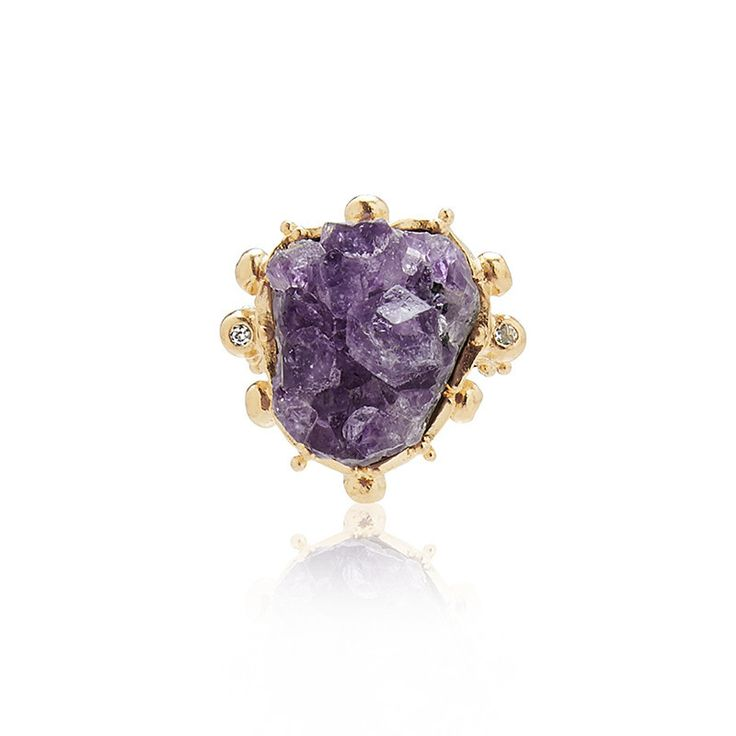 Seldom do we see the gemstone in its raw unpolished form.   The style is bohemian meets rockstar chique. Dare to be different. | Raw Amethyst Ring – Kate McCoy