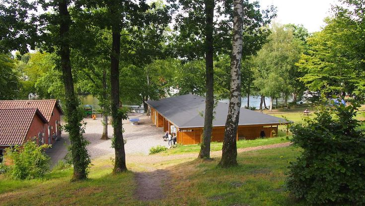 Skyttehusets Camping in het merengebied bij Silkeborg, Jutland.
