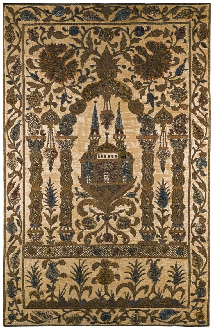 Late-Ottoman embroidered wall hanging, depicting a mosque.  Made in Turkey, 19th century.
