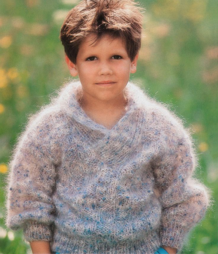 boys kids mohair sweater, photo from marks & kattens knitting pattern, fuzzy fluffy childs childrens