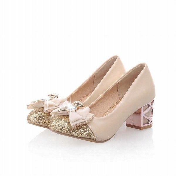 Carol Shoes Women's Sweet Rhinestone Bowknots Shiny Sequins Lolita... ($28) ❤ liked on Polyvore featuring shoes, wide fit shoes, polishing dress shoes, shiny dress shoes, wide width dress shoes and loafer dress shoes