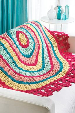 Bruges-Edged Round Throw ~ this is a FREE CROCHET pattern ~ bright & colourful!