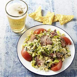 Southwestern Steak Salad Recipe-This dinner is ready in the time it takes to broil the steak. Try this salad entree during National Salad Week! Just remove the salt from the recipe if you're watching your sodium intake.