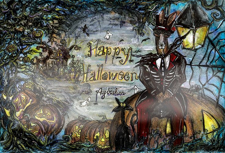 Have a #terrific #Halloween with #Australian. #Rooman #trickortreat #scary #drawing #colors