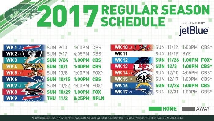 2017-18 NEW YORK JETS PRO NFL FOOTBALL SCHEDULE SEASON FRIDGE MAGNET (LARGE 4X5)